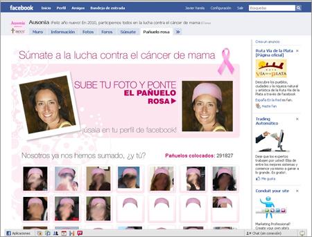 App Facebook pañuelo rosa de Ausonia y aecc